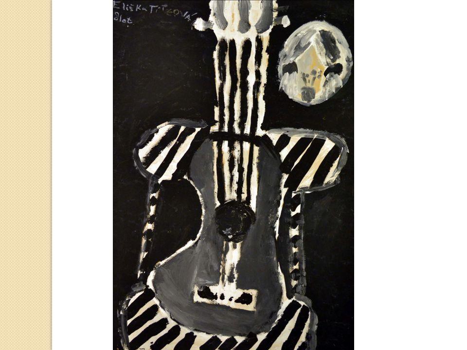 """Hlas tohoto hudebního nástroje ztvárnily jako """"Výtvarné vyprávění o kytaře technikou linorytu na FA3 a abstraktní malbou na téma hudba FA2."""