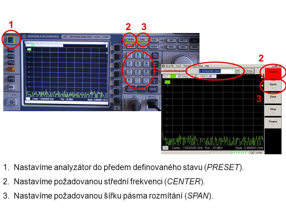 1.Nastavíme analyzátor do předem definovaného stavu (PRESET). 2.Nastavíme požadovanou střední frekvenci (CENTER). 3.Nastavíme požadovanou šířku pásma