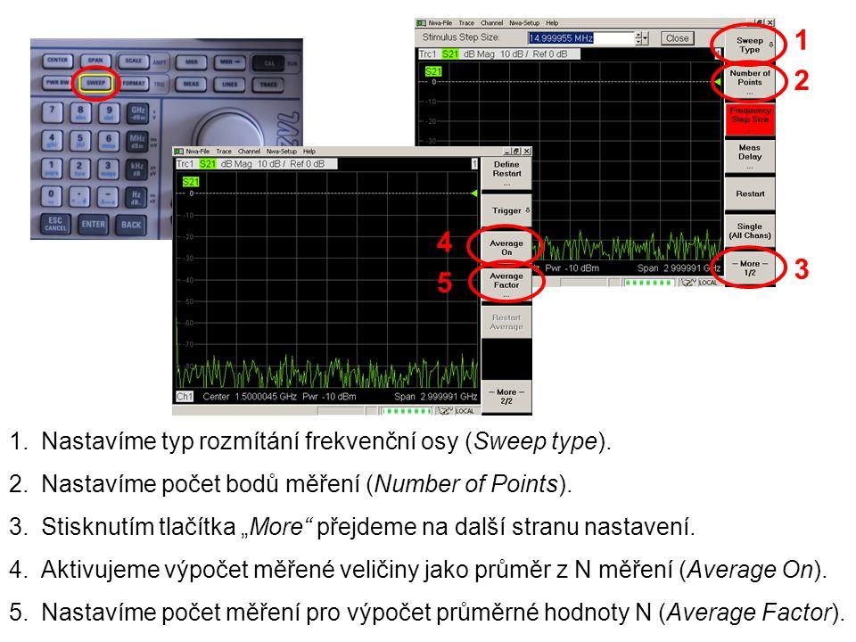 """1 1.Nastavíme typ rozmítání frekvenční osy (Sweep type). 2.Nastavíme počet bodů měření (Number of Points). 3.Stisknutím tlačítka """"More"""" přejdeme na da"""