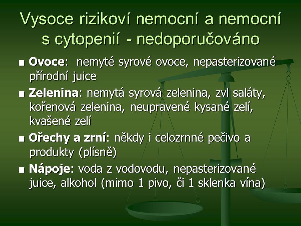 ■ Ovoce: nemyté syrové ovoce, nepasterizované přírodní juice ■ Zelenina: nemytá syrová zelenina, zvl saláty, kořenová zelenina, neupravené kysané zelí