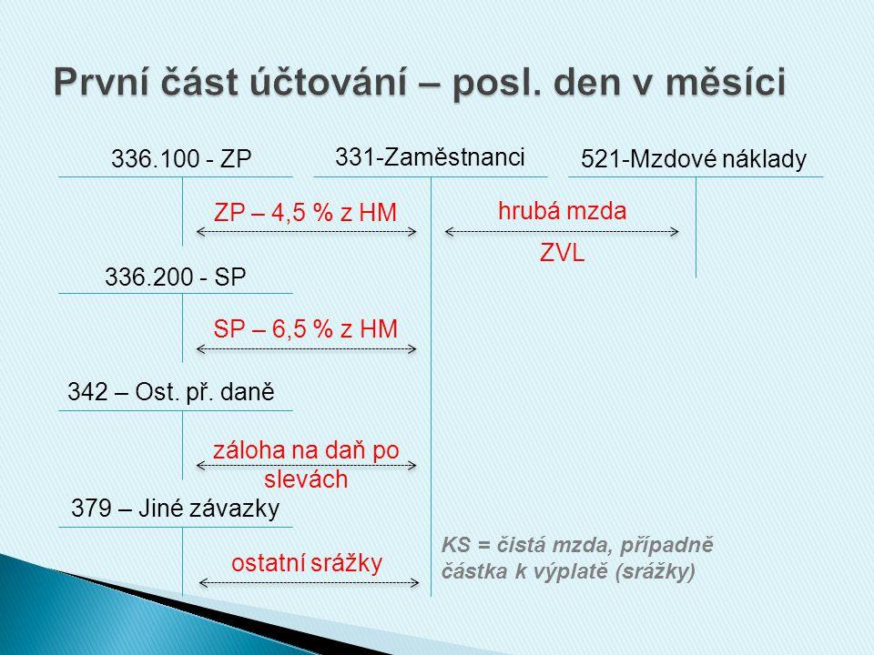 336.100 - ZP 331-Zaměstnanci 521-Mzdové náklady 336.200 - SP 342 – Ost.