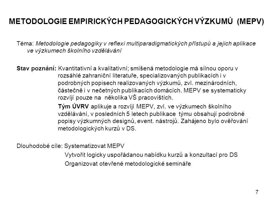 7 METODOLOGIE EMPIRICKÝCH PEDAGOGICKÝCH VÝZKUMŮ (MEPV) Téma: Metodologie pedagogiky v reflexi multiparadigmatických přístupů a jejich aplikace ve výzk