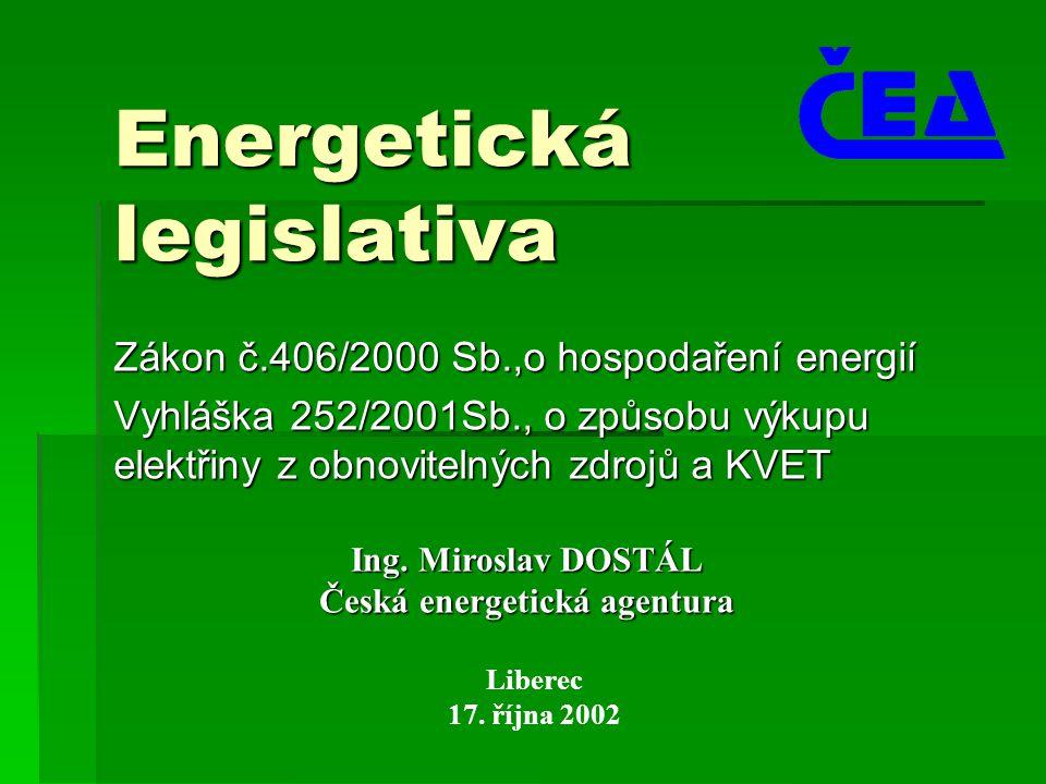 Energetická legislativa Zákon č.406/2000 Sb.,o hospodaření energií Vyhláška 252/2001Sb., o způsobu výkupu elektřiny z obnovitelných zdrojů a KVET Libe