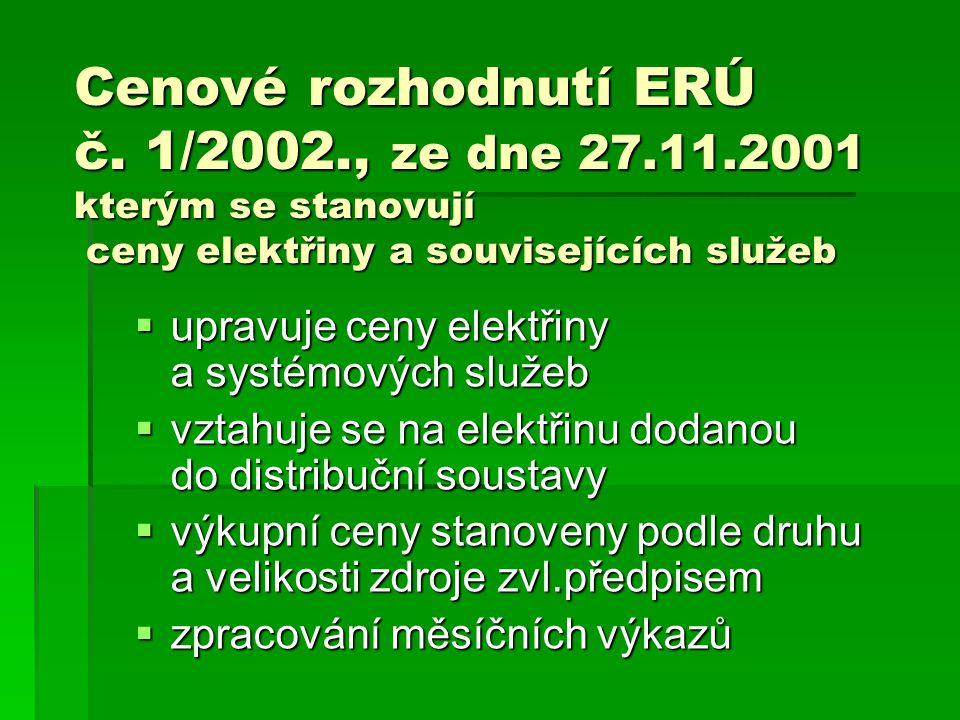 Cenové rozhodnutí ERÚ č. 1/2002., ze dne 27.11.2001 kterým se stanovují ceny elektřiny a souvisejících služeb  upravuje ceny elektřiny a systémových