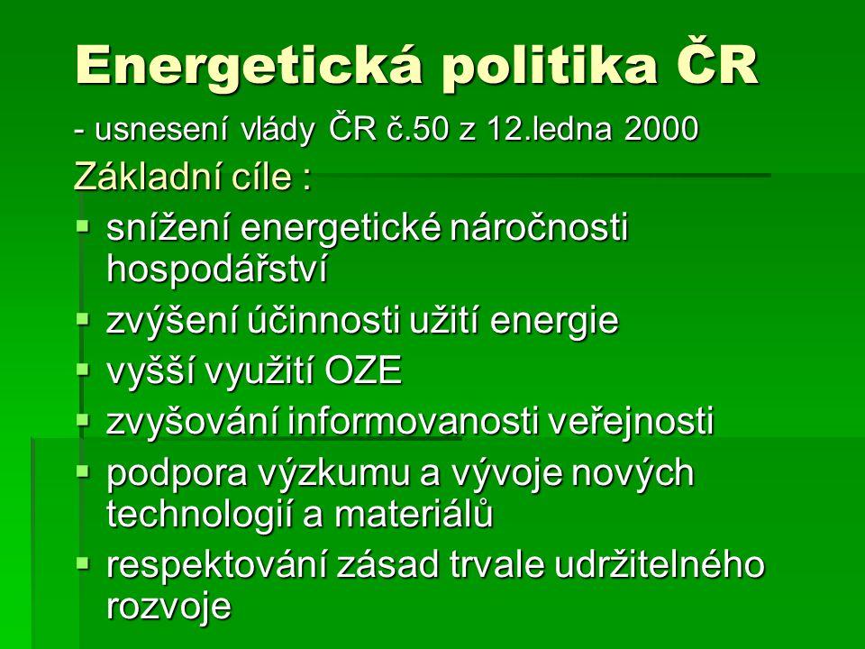 Energetická politika ČR - usnesení vlády ČR č.50 z 12.ledna 2000 Základní cíle :  snížení energetické náročnosti hospodářství  zvýšení účinnosti užití energie  vyšší využití OZE  zvyšování informovanosti veřejnosti  podpora výzkumu a vývoje nových technologií a materiálů  respektování zásad trvale udržitelného rozvoje
