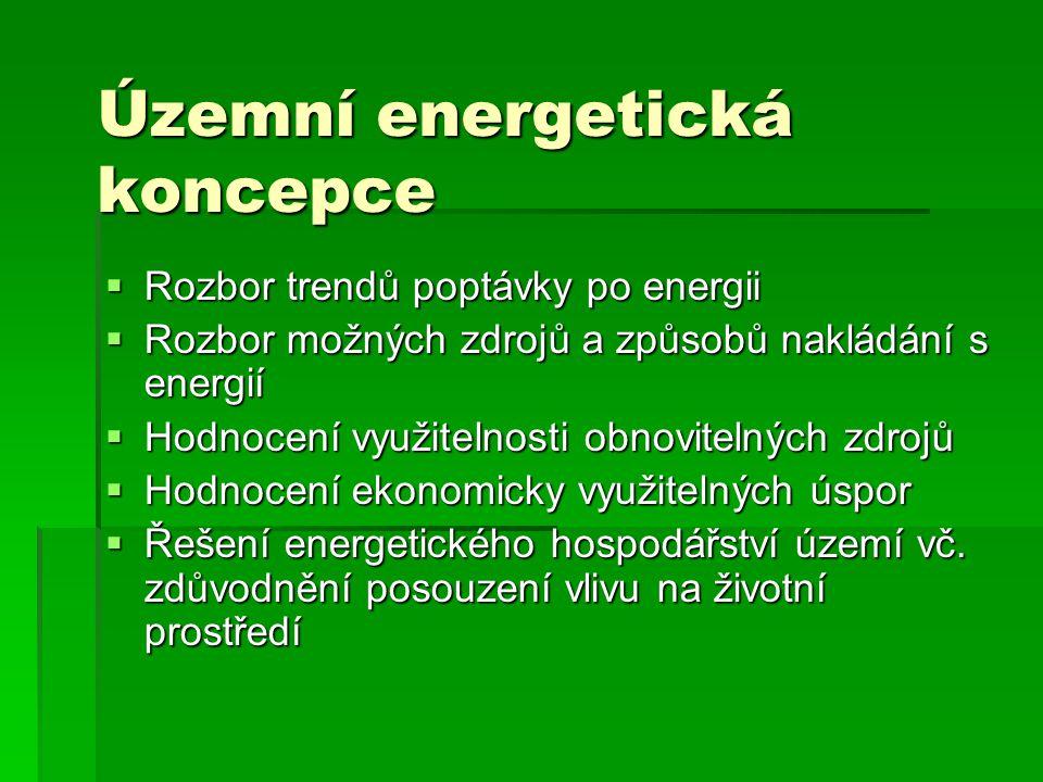 Územní energetická koncepce  Rozbor trendů poptávky po energii  Rozbor možných zdrojů a způsobů nakládání s energií  Hodnocení využitelnosti obnovitelných zdrojů  Hodnocení ekonomicky využitelných úspor  Řešení energetického hospodářství území vč.