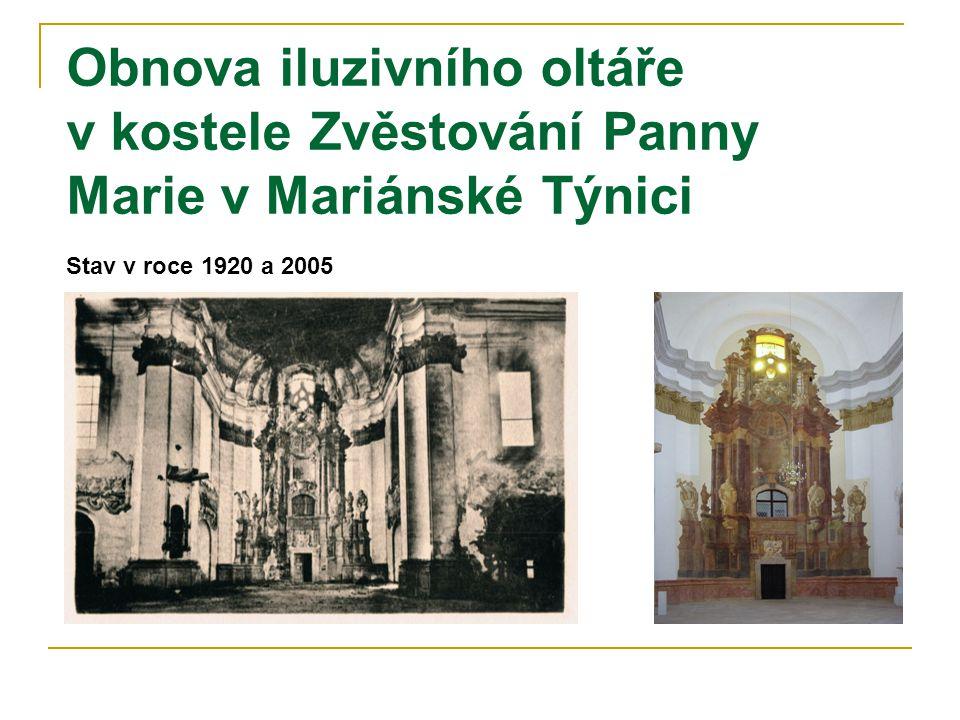 Obnova iluzivního oltáře v kostele Zvěstování Panny Marie v Mariánské Týnici Stav v roce 1920 a 2005
