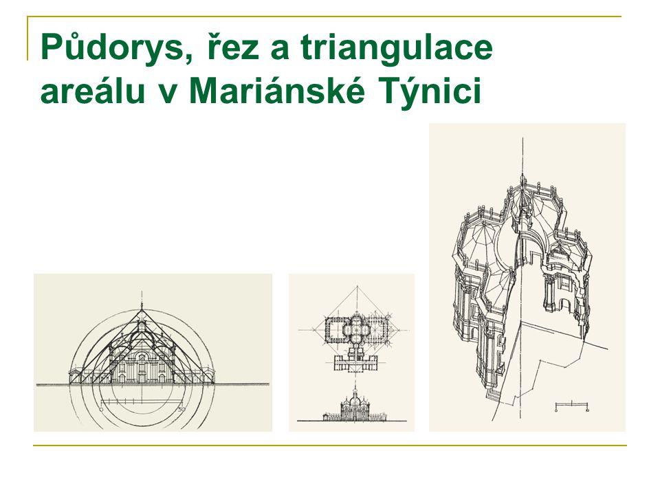 Půdorys, řez a triangulace areálu v Mariánské Týnici