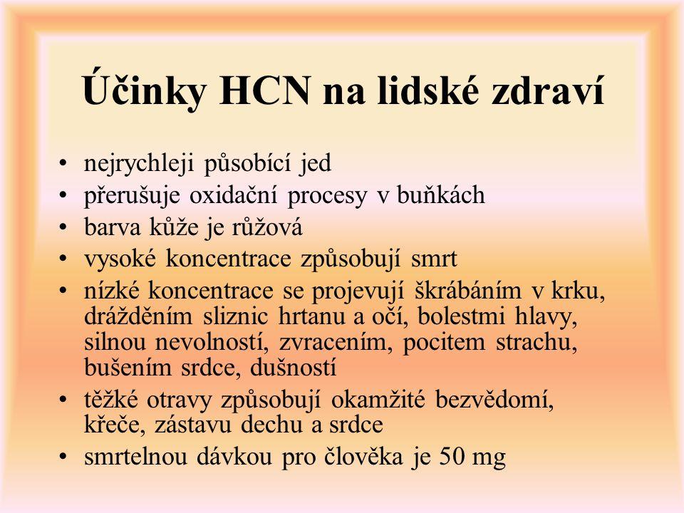 Účinky HCN na lidské zdraví nejrychleji působící jed přerušuje oxidační procesy v buňkách barva kůže je růžová vysoké koncentrace způsobují smrt nízké