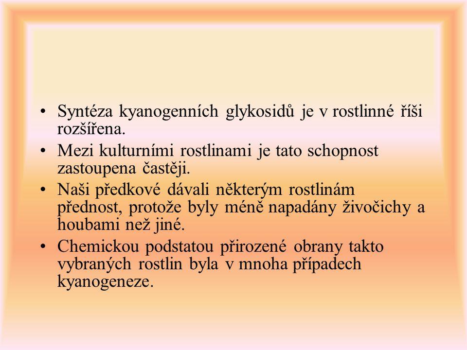 Syntéza kyanogenních glykosidů je v rostlinné říši rozšířena. Mezi kulturními rostlinami je tato schopnost zastoupena častěji. Naši předkové dávali ně
