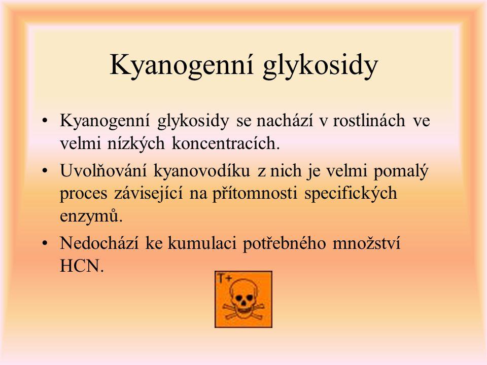 Kyanogenní glykosidy Kyanogenní glykosidy se nachází v rostlinách ve velmi nízkých koncentracích. Uvolňování kyanovodíku z nich je velmi pomalý proces