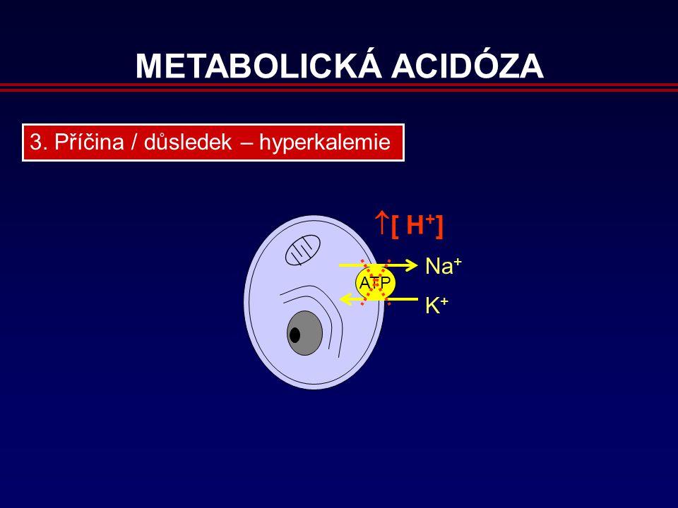 METABOLICKÁ ACIDÓZA 3. Příčina / důsledek – hyperkalemie ATP Na + K+K+  [ H + ]