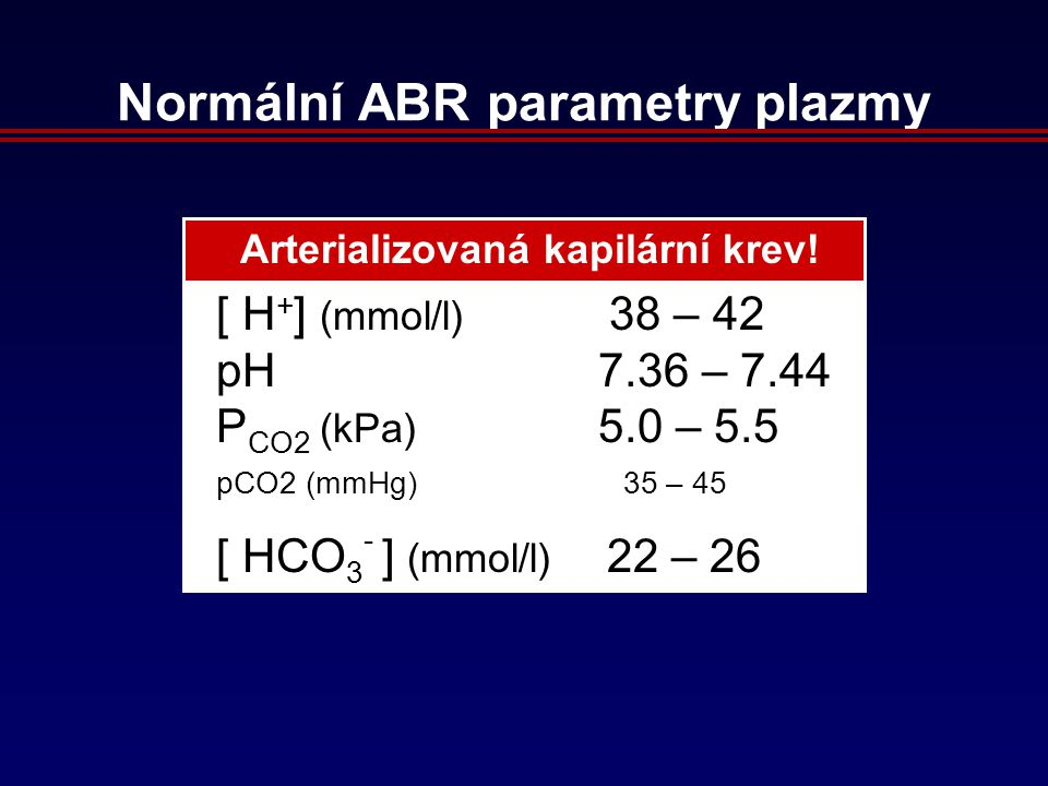 Normální ABR parametry plazmy [ H + ] (mmol/l) 38 – 42 pH 7.36 – 7.44 P CO2 (kPa) 5.0 – 5.5 pCO2 (mmHg) 35 – 45 [ HCO 3 - ] (mmol/l) 22 – 26 Arterializovaná kapilární krev!