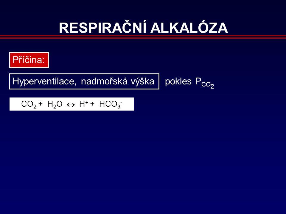 RESPIRAČNÍ ALKALÓZA Příčina: Hyperventilace, nadmořská výška CO 2 + H 2 O  H + + HCO 3 - pokles P CO 2