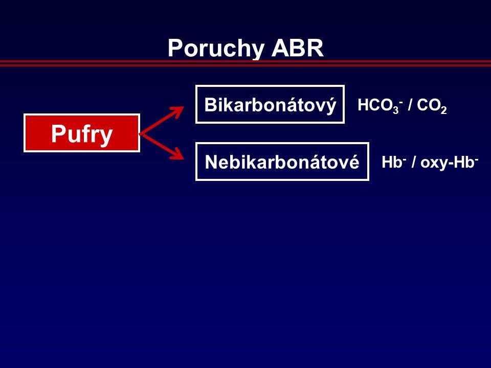 Poruchy ABR Pufry Bikarbonátový Nebikarbonátové HCO 3 - / CO 2 Hb - / oxy-Hb -