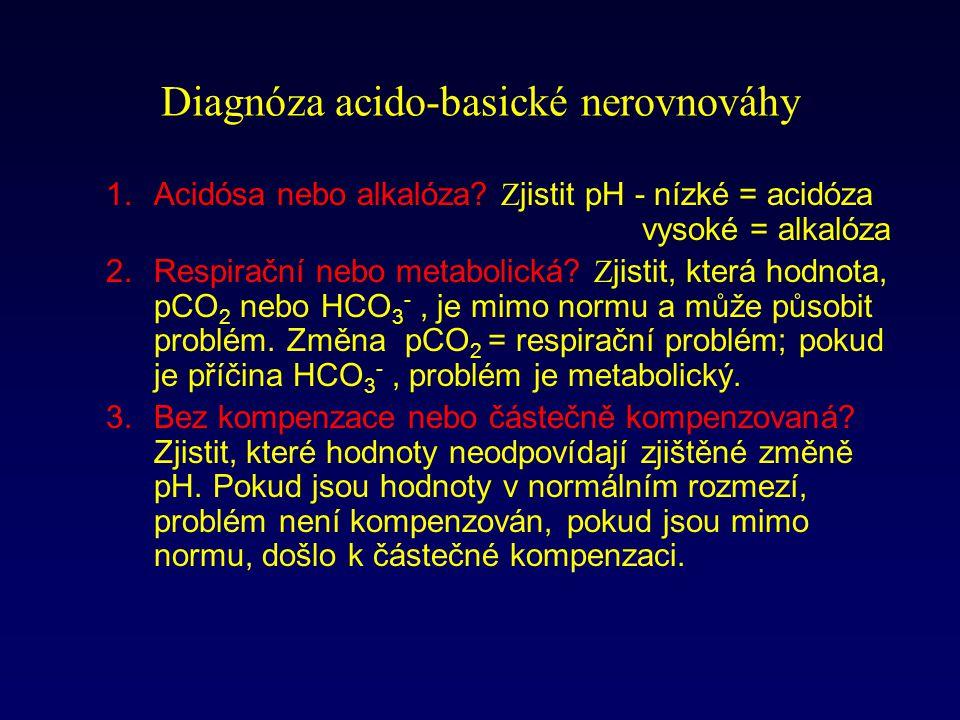 Diagnóza acido-basické nerovnováhy 1.Acidósa nebo alkalóza.