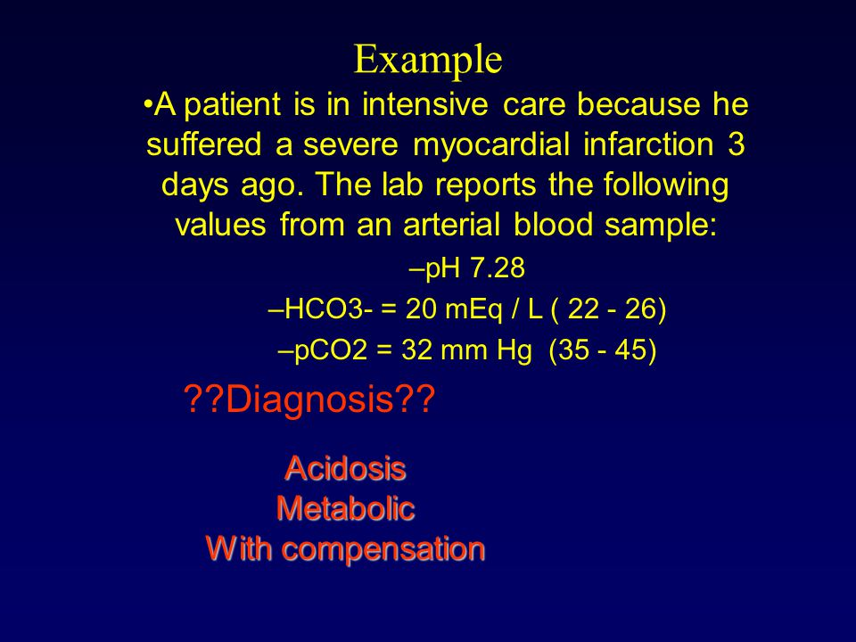 Example A patient is in intensive care because he suffered a severe myocardial infarction 3 days ago.