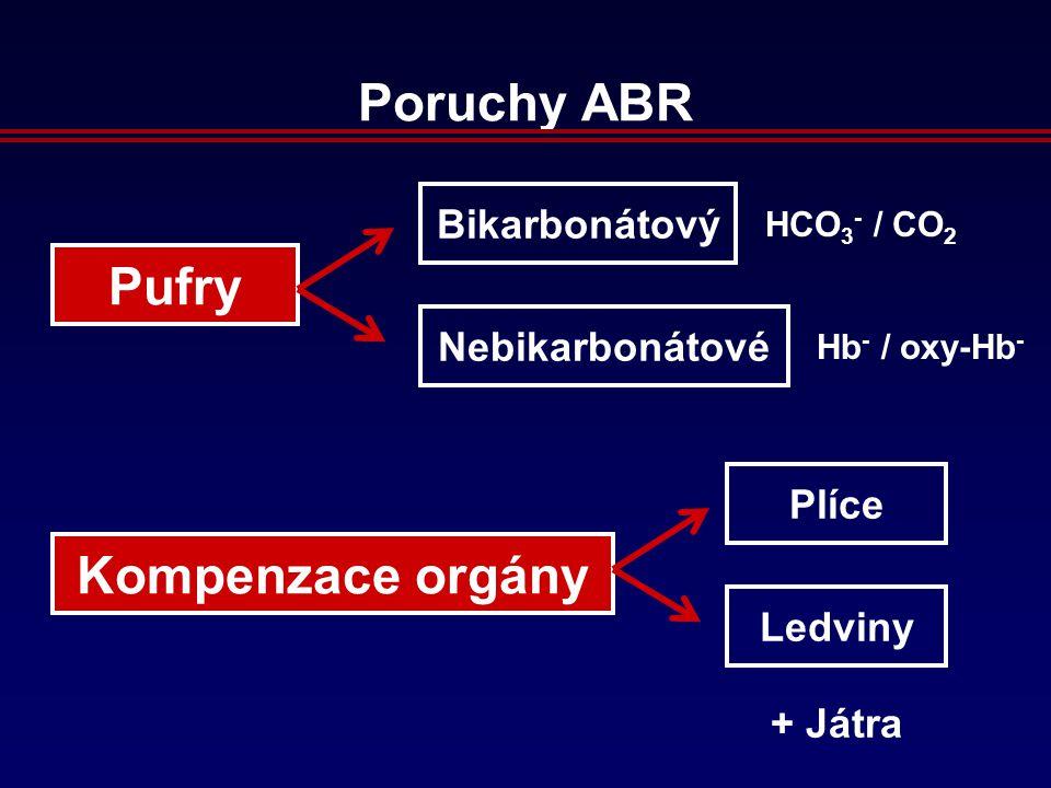 Poruchy ABR Pufry Kompenzace orgány Bikarbonátový Nebikarbonátové Plíce Ledviny HCO 3 - / CO 2 Hb - / oxy-Hb - + Játra