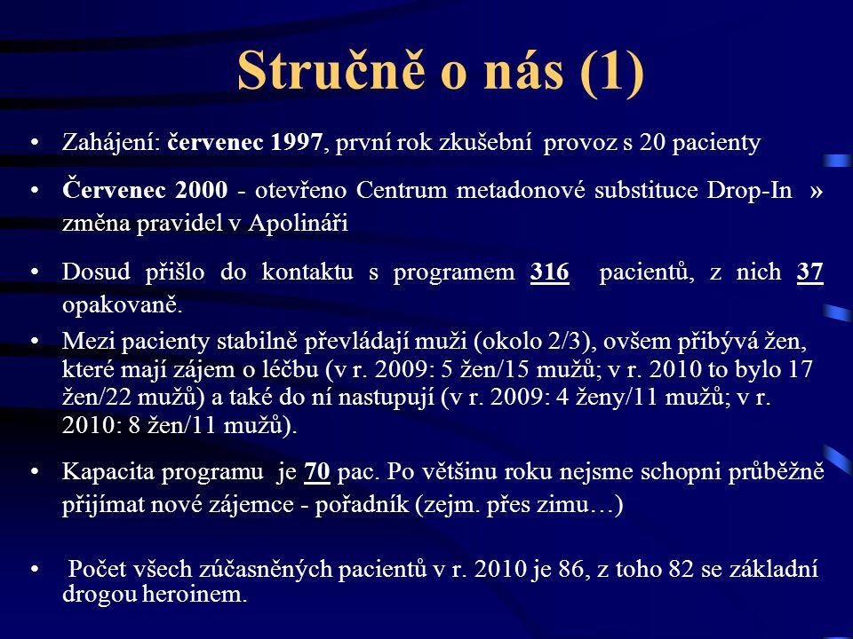 Stručně o nás (1) Zahájení: červenec 1997, první rok zkušební provoz s 20 pacienty Červenec 2000 - otevřeno Centrum metadonové substituce Drop-In » zm