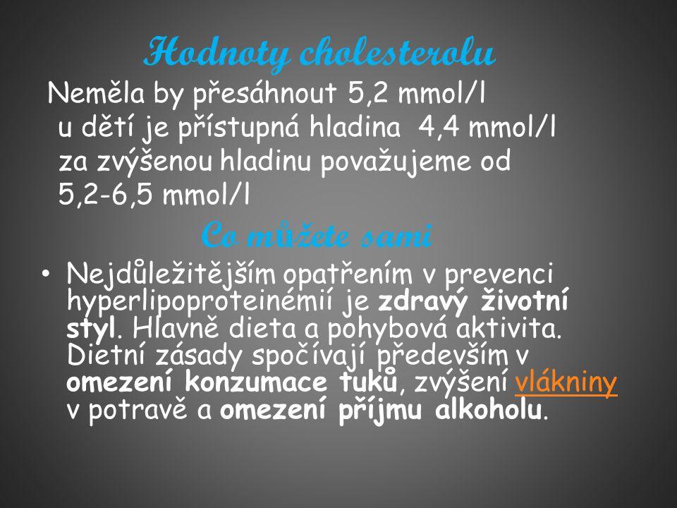 Hodnoty cholesterolu Neměla by přesáhnout 5,2 mmol/l u dětí je přístupná hladina 4,4 mmol/l za zvýšenou hladinu považujeme od 5,2-6,5 mmol/l Co m ů že