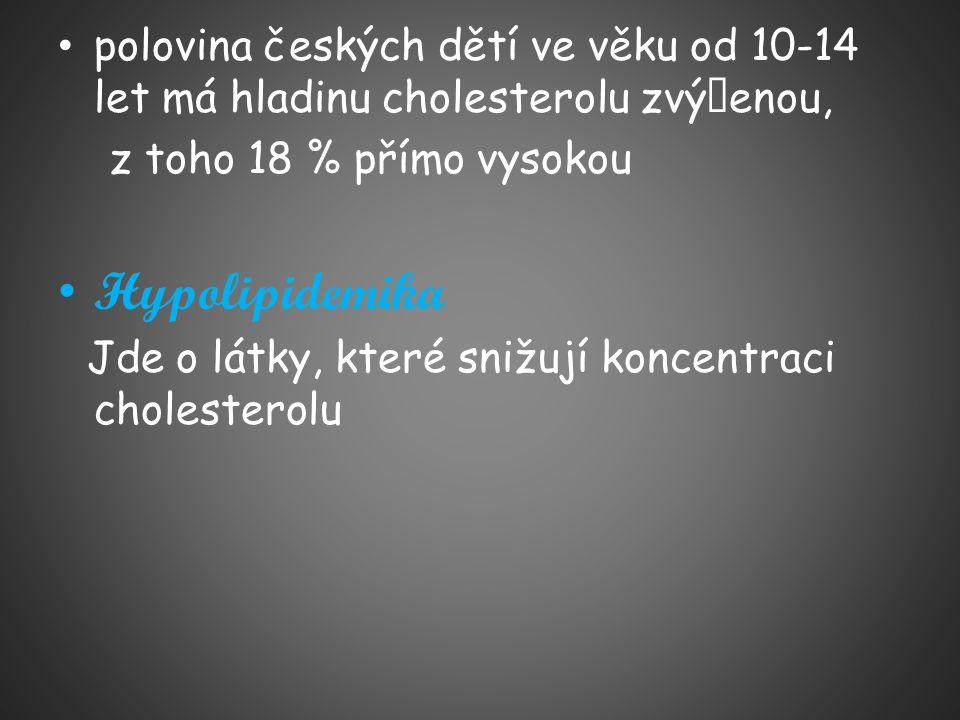 polovina českých dětí ve věku od 10-14 let má hladinu cholesterolu zvýšenou, z toho 18 % přímo vysokou Hypolipidemika Jde o látky, které snižují konce