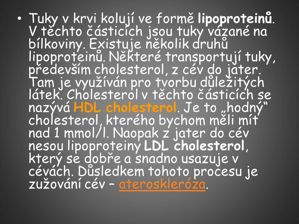 Tuky v krvi kolují ve formě lipoproteinů. V těchto částicích jsou tuky vázané na bílkoviny. Existuje několik druhů lipoproteinů. Některé transportují