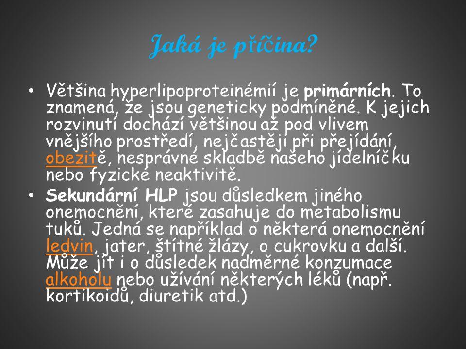 Jaká je p ř í č ina? Většina hyperlipoproteinémií je primárních. To znamená, že jsou geneticky podmíněné. K jejich rozvinutí dochází většinou až pod v