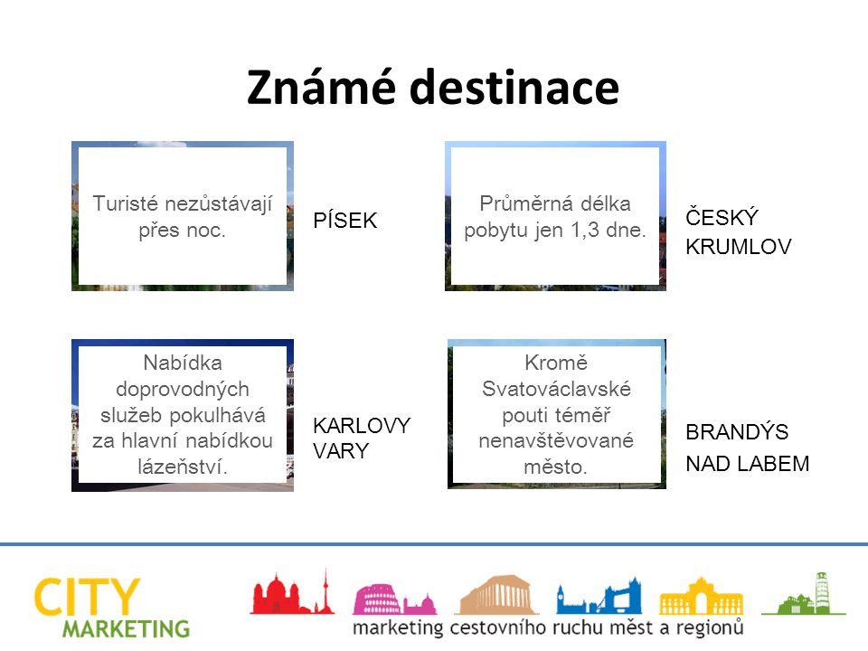 Známé destinace PÍSEK KARLOVY VARY ČESKÝ KRUMLOV BRANDÝS NAD LABEM Turisté nezůstávají přes noc.