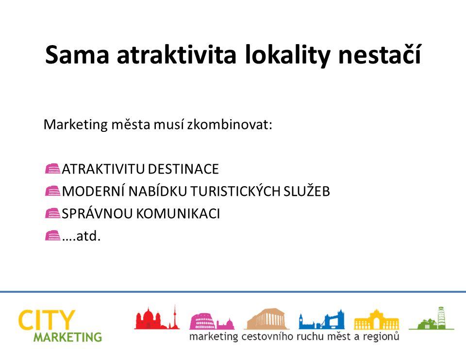 Marketing města musí zkombinovat: ATRAKTIVITU DESTINACE MODERNÍ NABÍDKU TURISTICKÝCH SLUŽEB SPRÁVNOU KOMUNIKACI ….atd.