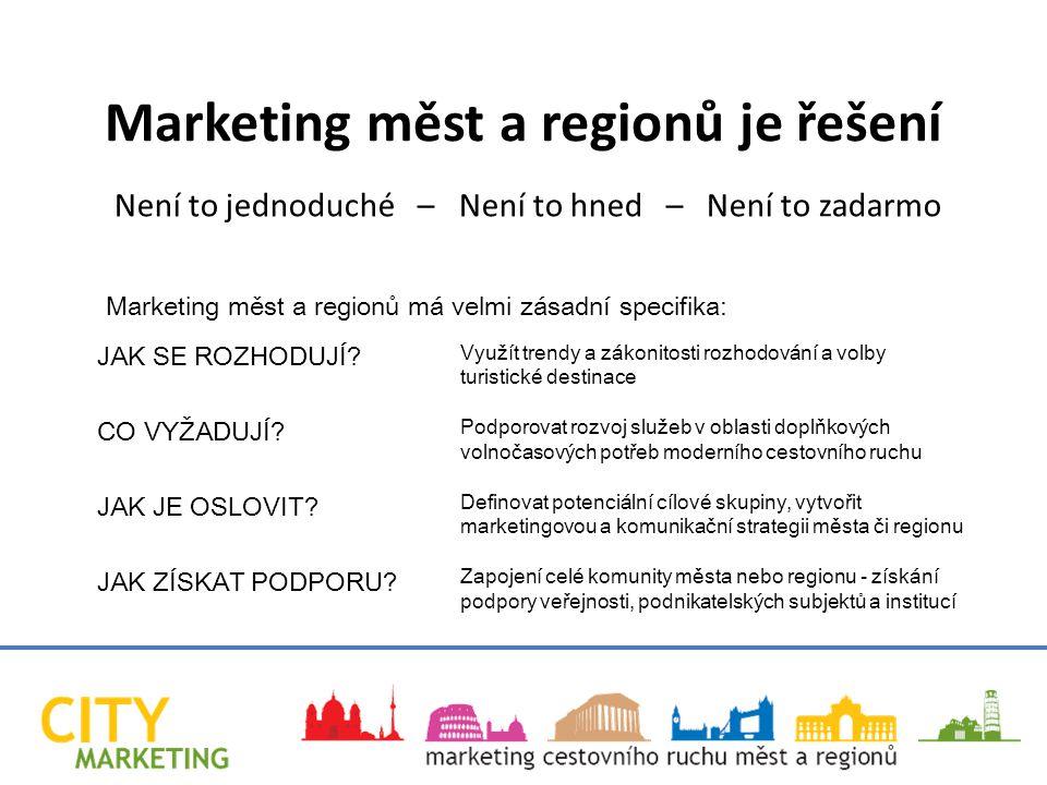 Využít trendy a zákonitosti rozhodování a volby turistické destinace Podporovat rozvoj služeb v oblasti doplňkových volnočasových potřeb moderního cestovního ruchu Definovat potenciální cílové skupiny, vytvořit marketingovou a komunikační strategii města či regionu Zapojení celé komunity města nebo regionu - získání podpory veřejnosti, podnikatelských subjektů a institucí Marketing měst a regionů je řešení Není to jednoduché – Není to hned – Není to zadarmo JAK SE ROZHODUJÍ.