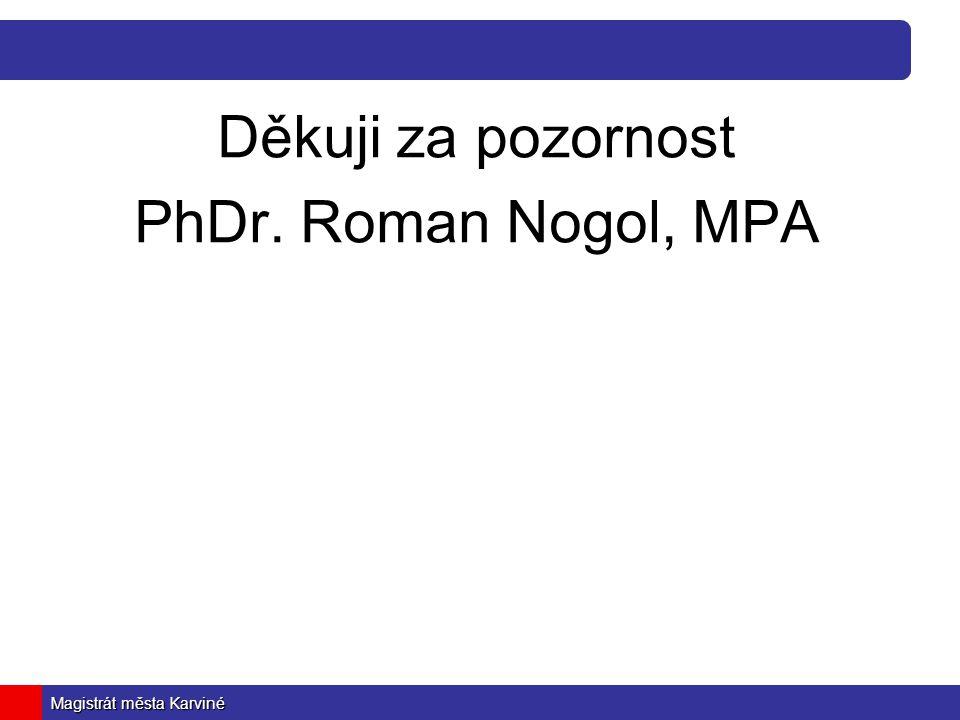 Magistrát města Karviné Děkuji za pozornost PhDr. Roman Nogol, MPA