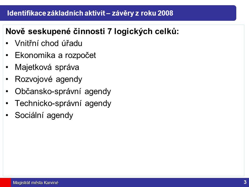 Magistrát města Karviné Identifikace základních aktivit – závěry z roku 2008 Nově seskupené činnosti 7 logických celků: Vnitřní chod úřadu Ekonomika a