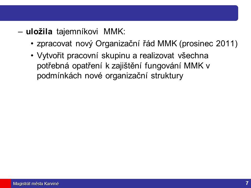 Magistrát města Karviné –uložila tajemníkovi MMK: zpracovat nový Organizační řád MMK (prosinec 2011) Vytvořit pracovní skupinu a realizovat všechna po