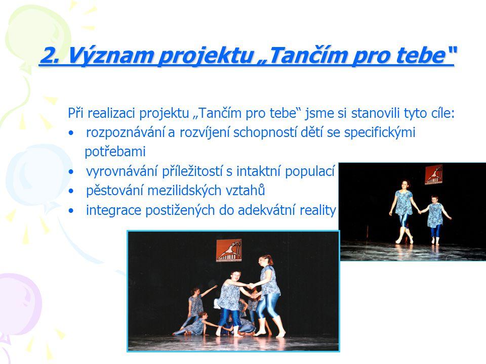 """2. Význam projektu """"Tančím pro tebe"""" 2. Význam projektu """"Tančím pro tebe"""" Při realizaci projektu """"Tančím pro tebe"""" jsme si stanovili tyto cíle: rozpoz"""