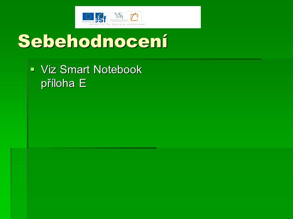 Sebehodnocení  Viz Smart Notebook příloha E
