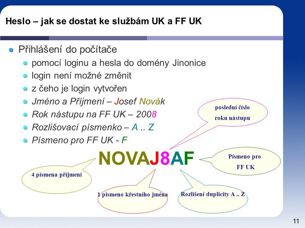 11 Heslo – jak se dostat ke službám UK a FF UK Přihlášení do počítače pomocí loginu a hesla do domény Jinonice login není možné změnit z čeho je login vytvořen Jméno a Příjmení – Josef Novák Rok nástupu na FF UK – 2008 Rozlišovací písmenko – A..