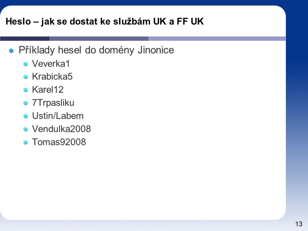 13 Heslo – jak se dostat ke službám UK a FF UK Příklady hesel do domény Jinonice Veverka1 Krabicka5 Karel12 7Trpasliku Ustin/Labem Vendulka2008 Tomas92008