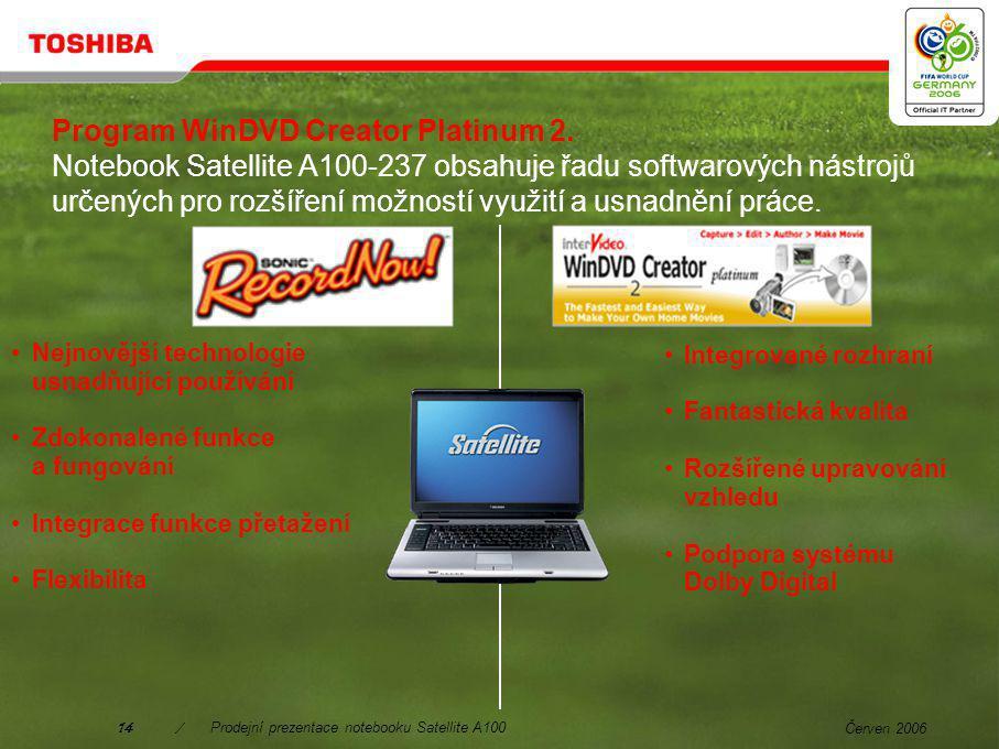 Červen 200613/Prodejní prezentace notebooku Satellite A100 Dodáváno s programem Toshiba Summit.