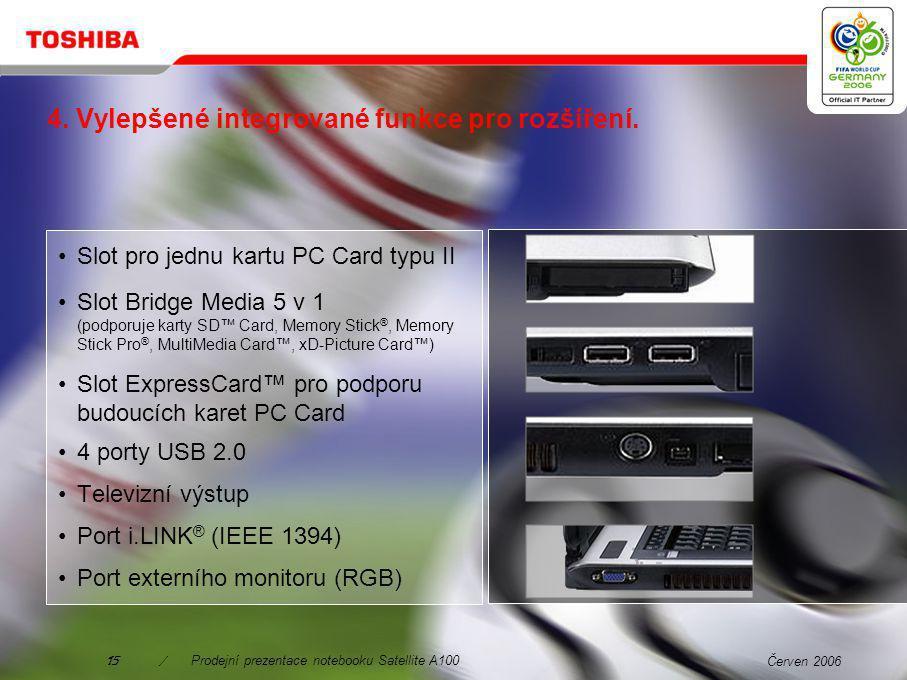 Červen 200614/Prodejní prezentace notebooku Satellite A100 Integrované rozhraní Fantastická kvalita Rozšířené upravování vzhledu Podpora systému Dolby Digital Nejnovější technologie usnadňující používání Zdokonalené funkce a fungování Integrace funkce přetažení Flexibilita Program WinDVD Creator Platinum 2.