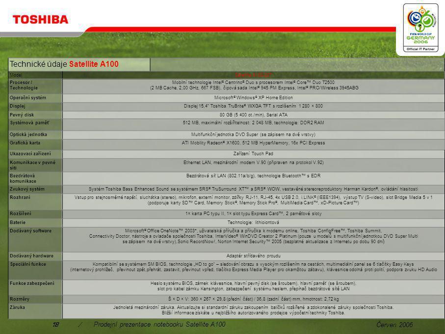 Červen 200617/Prodejní prezentace notebooku Satellite A100 Spolu s modelem Satellite A100-237, hrací konzolou a nejnovější verzí programu FIFA 06 by EA Sport™ budete nachystáni ke hře před, během a zvláště po skončení finálového zápasu.