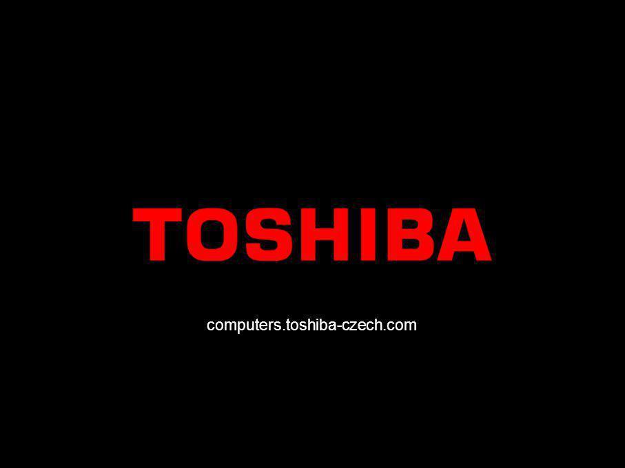Červen 200618/Prodejní prezentace notebooku Satellite A100 Technické údaje Satellite A100 ModelSatellite A100-237 Procesor / Technologie Mobilní technologie Intel ® Centrino ® Duo s procesorem Intel ® Core™ Duo T2500 (2 MB Cache, 2,00 GHz, 667 FSB), čipová sada Intel ® 945 PM Express, Intel ® PRO/Wireless 3945ABG Operační systémMicrosoft ® Windows ® XP Home Edition DisplejDisplej 15,4 Toshiba TruBrite ® WXGA TFT s rozlišením 1 280 × 800 Pevný disk80 GB (5 400 ot./min), Serial ATA Systémová paměť512 MB, maximální rozšířitelnost: 2 048 MB, technologie: DDR2 RAM Optická jednotkaMultifunkční jednotka DVD Super (se zápisem na dvě vrstvy) Grafická kartaATI Mobility Radeon ® X1600, 512 MB HyperMemory, 16x PCI Express Ukazovací zařízeníZařízení Touch Pad Komunikace v pevné síti Ethernet LAN, mezinárodní modem V.90 (připraven na protokol V.92) Bezdrátová komunikace Bezdrátová síť LAN (802.11a/b/g), technologie Bluetooth™ s EDR Zvukový systémSystém Toshiba Bass Enhanced Sound se systémem SRS ® TruSurround XT™ a SRS ® WOW, vestavěné stereoreproduktory Harman Kardon ®, ovládání hlasitosti RozhraníVstup pro stejnosměrné napětí, sluchátka (stereo), mikrofon, externí monitor, zdířky RJ-11, RJ-45, 4x USB 2.0, i.LINK ® (IEEE1394), výstup TV (S-video), slot Bridge Media 5 v 1 (podporuje karty SD™ Card, Memory Stick ®, Memory Stick Pro ®, MultiMedia Card™, xD-Picture Card™) Rozšíření1× karta PC typu II, 1× slot typu Express Card™, 2 paměťové sloty BaterieTechnologie: lithioiontová Dodávaný softwareMicrosoft ® Office OneNote™ 2003*, uživatelská příručka a příručka k modemu online, Toshiba ConfigFree™, Toshiba Summit, Connectivity Doctor, nástroje a ovladače společnosti Toshiba, InterVideo ® WinDVD Creator 2 Platinum (pouze u modelů s multifunkční jednotkou DVD Super Multi se zápisem na dvě vrstvy),Sonic RecordNow!, Norton Internet Security™ 2005 (bezplatné aktualizace z Internetu po dobu 90 dní) Dodávaný hardwareAdaptér střídavého proudu Speciální funkceKompatibilní se systémem SM BIOS
