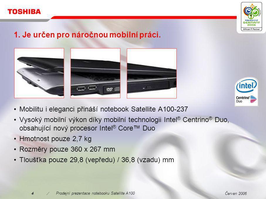 Červen 20063/Prodejní prezentace notebooku Satellite A100 Proč zvolit právě Satellite A100-237.