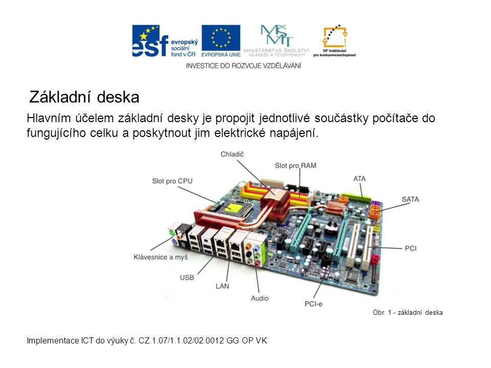 Základní deska Implementace ICT do výuky č. CZ.1.07/1.1.02/02.0012 GG OP VK Hlavním účelem základní desky je propojit jednotlivé součástky počítače do