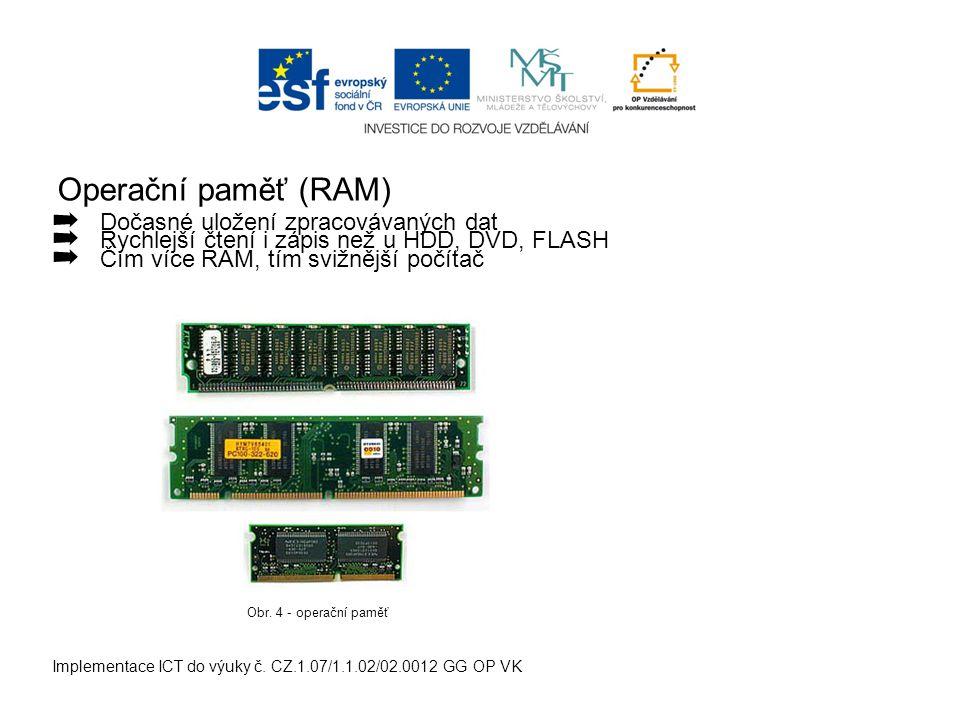 Operační paměť (RAM) Implementace ICT do výuky č. CZ.1.07/1.1.02/02.0012 GG OP VK ➡ Dočasné uložení zpracovávaných dat ➡ Rychlejší čtení i zápis než u