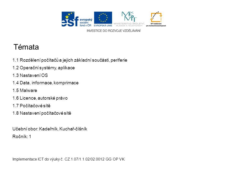 Témata Implementace ICT do výuky č.