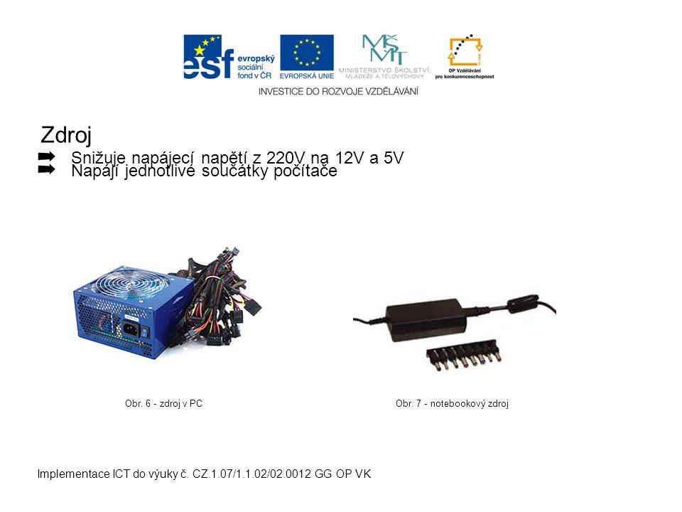 Zdroj Implementace ICT do výuky č. CZ.1.07/1.1.02/02.0012 GG OP VK ➡ Snižuje napájecí napětí z 220V na 12V a 5V ➡ Napájí jednotlivé součátky počítače