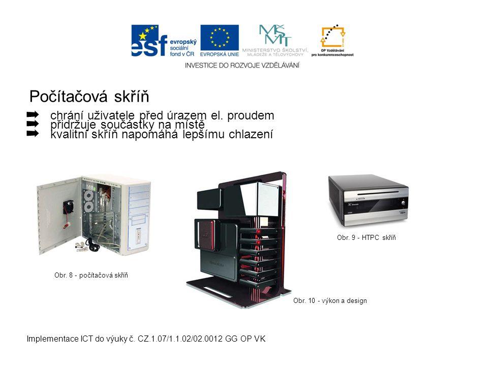 Počítačová skříň Implementace ICT do výuky č. CZ.1.07/1.1.02/02.0012 GG OP VK ➡ chrání uživatele před úrazem el. proudem ➡ přidržuje součástky na míst