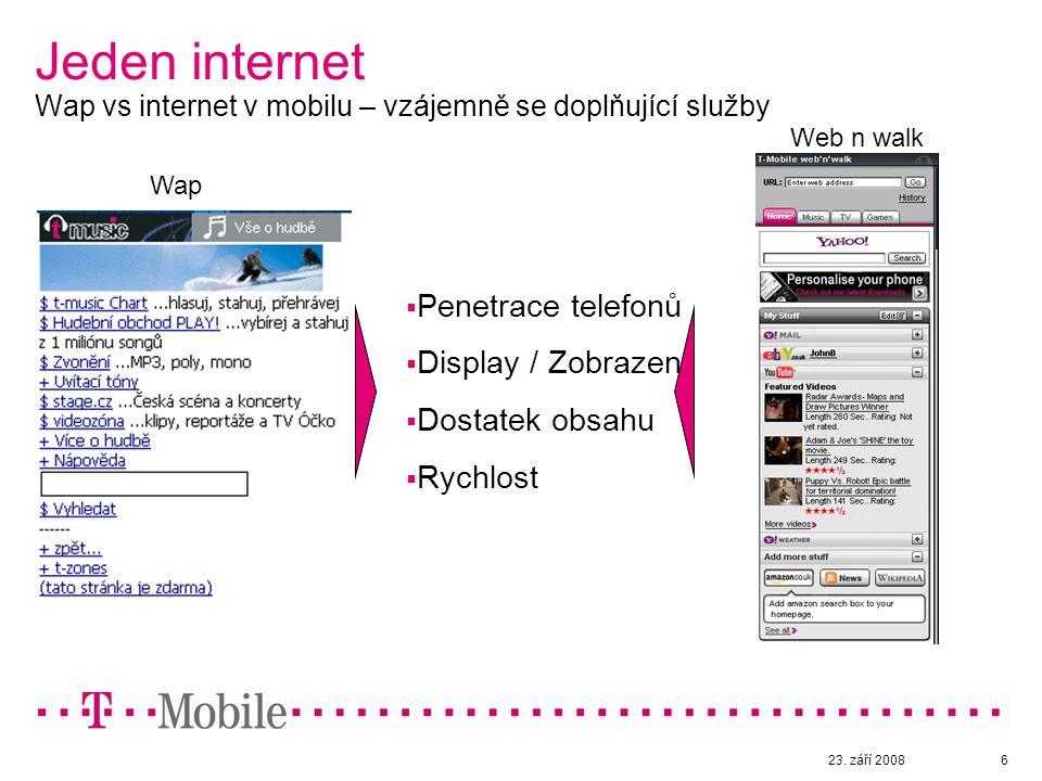 23. září 20086 Jeden internet Wap vs internet v mobilu – vzájemně se doplňující služby Wap Web n walk  Penetrace telefonů  Display / Zobrazení  Dos