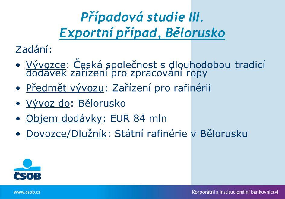 Případová studie III. Exportní případ, Bělorusko Zadání: Vývozce: Česká společnost s dlouhodobou tradicí dodávek zařízení pro zpracování ropy Předmět
