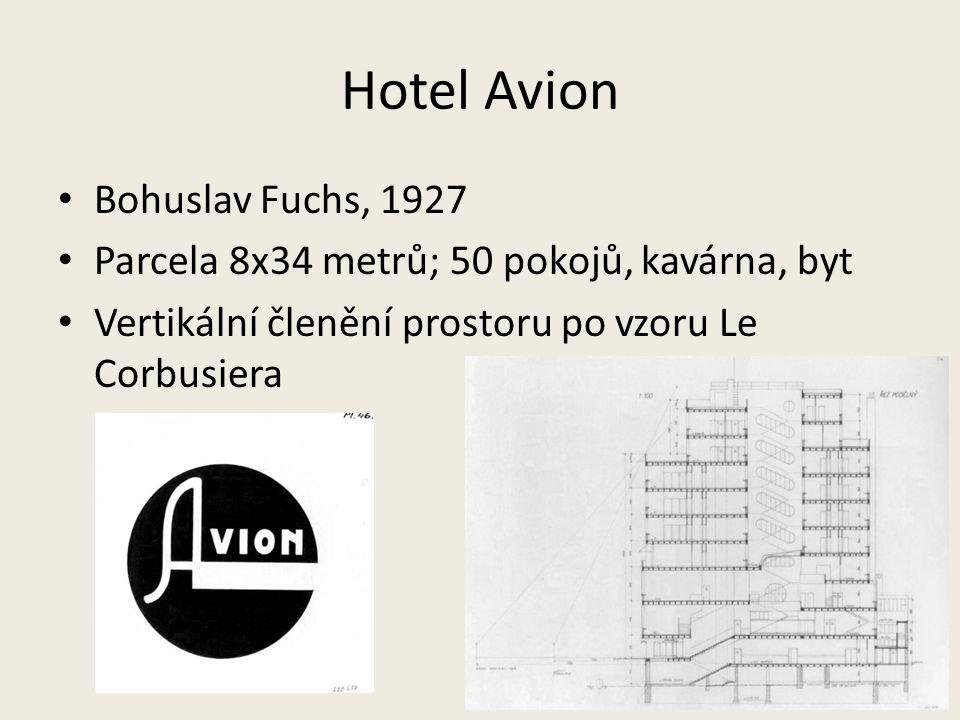 Hotel Avion Bohuslav Fuchs, 1927 Parcela 8x34 metrů; 50 pokojů, kavárna, byt Vertikální členění prostoru po vzoru Le Corbusiera